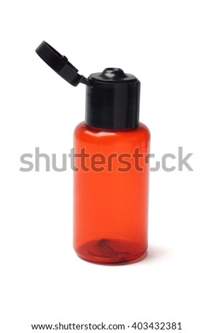 Empty Cosmetic Plastic Bottle on White Background - stock photo