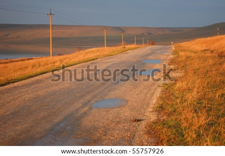 empty country road in the Crimea - stock photo