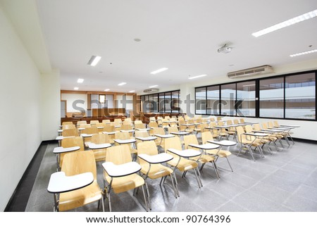 Empty  courtroom with modern,  Class room in university at Thailand. - stock photo