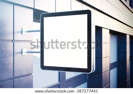 Empty cristal digital screen on the urban city. Concrete facades of modern buildings. Horizontal mockup, isolated, blurred background. 3d render - stock photo