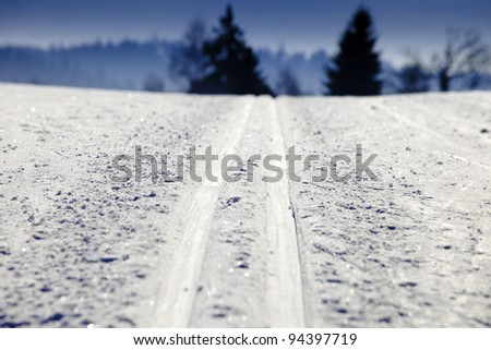 Empty cross-country ski track - stock photo