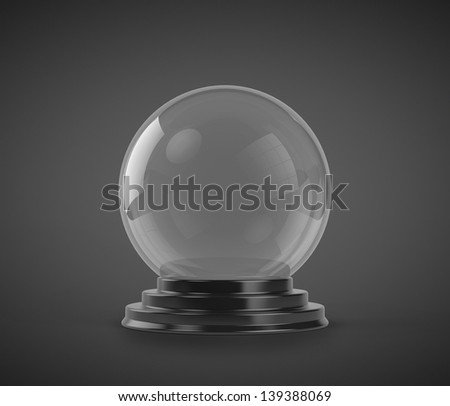 Empty Crystal Ball isolated on black background - stock photo