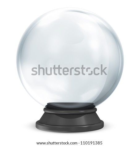 Empty Crystal Ball isolated on white background - stock photo