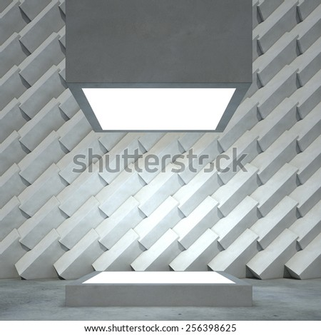 Empty cubic showcase in interior room with concrete wall. 3D render. - stock photo