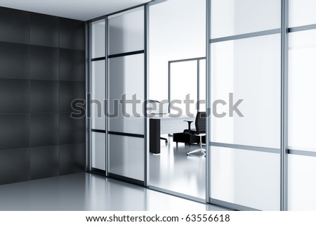 Empty cubicle with laptop on table behind a glass doors in modern office & Empty Cubicle Laptop On Table Behind Stock Illustration 63556618 ... pezcame.com