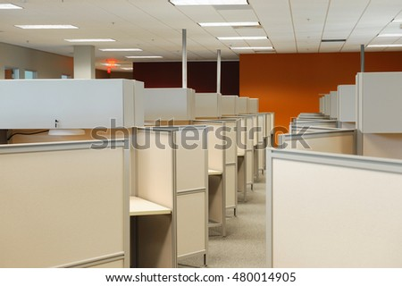 office with cubicles. Empty Cubicles Inside Office Building, Place Of Work With