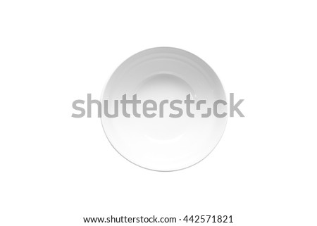 Empty cup isolated on white background. Above view. This has clipping path. - stock photo