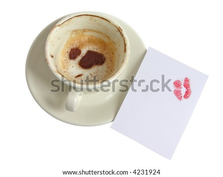 Empty cup of coffee-cappuccino with cinnamon drawings of hearts and with cut-away with lipstick traces on white background