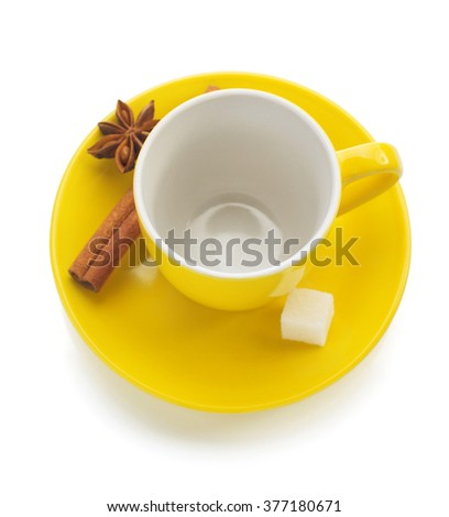 empty cup of coffee isolated on white background - stock photo