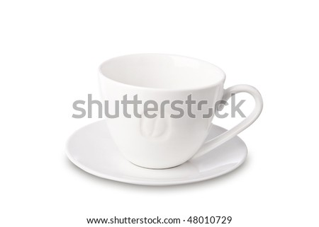 Empty cup of coffee isolated on white. It has a clipping path. - stock photo