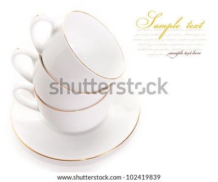 empty cup on a saucer. isolated on a white background