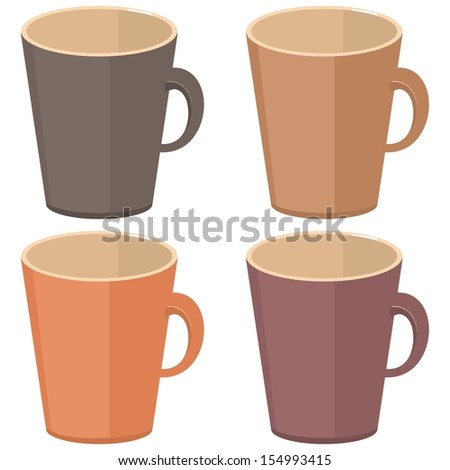 empty cups on white background