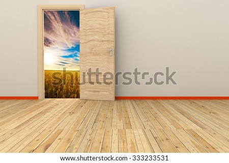 empty 3d room with opened door. render - stock photo