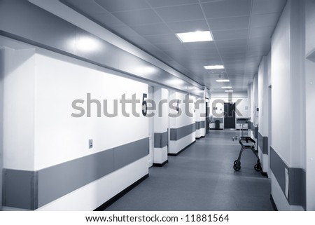 Empty Danish hospital corridor at night time.