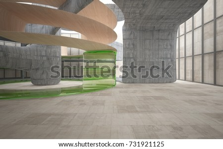 Empty dark abstract concrete and wood smooth interior . Architectural background. 3D illustration and rendering