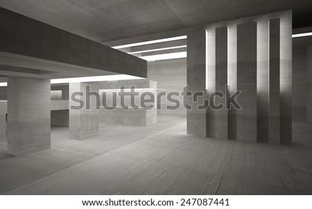 Empty dark abstract concrete room interior - stock photo