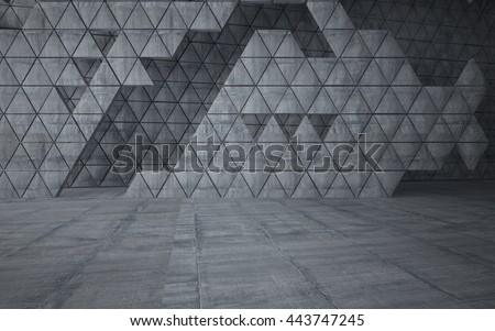 Empty dark abstract concrete room interior.  Architectural background consisting of a triangular prism. Night view of the illuminated. 3D illustration. 3D rendering