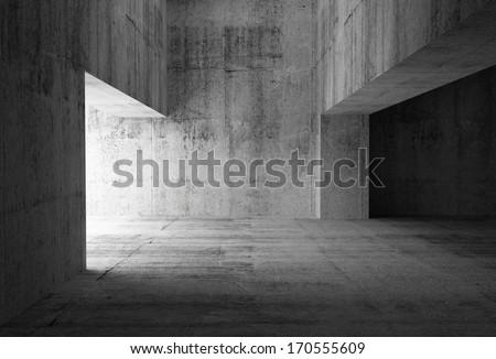 Empty dark abstract concrete room interior. 3d illustration - stock photo