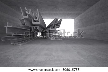 Empty dark abstract concrete room interior.3D illustration. 3D rendering  - stock photo