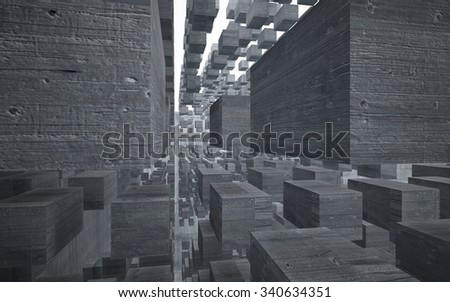 Empty dark abstract concrete room interior. 3D illustration. 3D rendering. - stock photo
