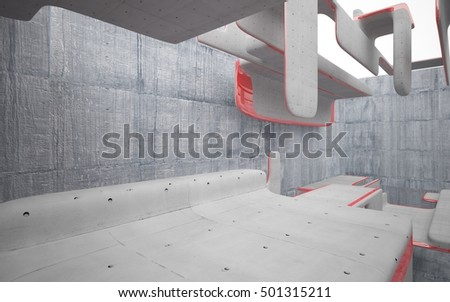 Empty dark abstract concrete room interior with red glossy lines. Architectural background. 3D illustration and rendering