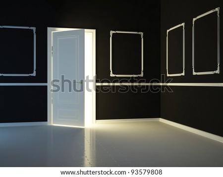 Empty, dark, black, classic room with opened door, 3d render. - stock photo