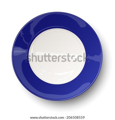 Empty dark blue plate isolated on white. Raster version illustration. - stock photo
