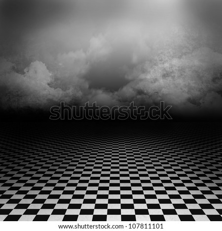 Empty, dark, psychedelicimage with black and white checker on the ground and ray of light in cloudy sky - stock photo
