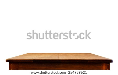 Empty dark wood table top isolate on white background, Leave space for placement you background,Template mock up for display of product - stock photo