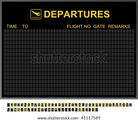 Empty departures board and characters to fill in - stock photo