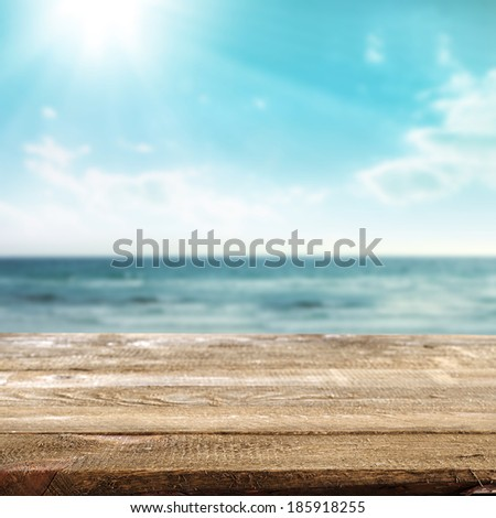 empty desk and summer sea  - stock photo