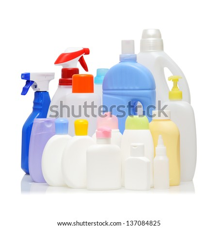 Empty detergent bottles on white background. - stock photo