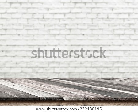 Empty Diagonal Wooden Table top at blurred white brick wall,Template mock up for display of your product,Business presentation - stock photo