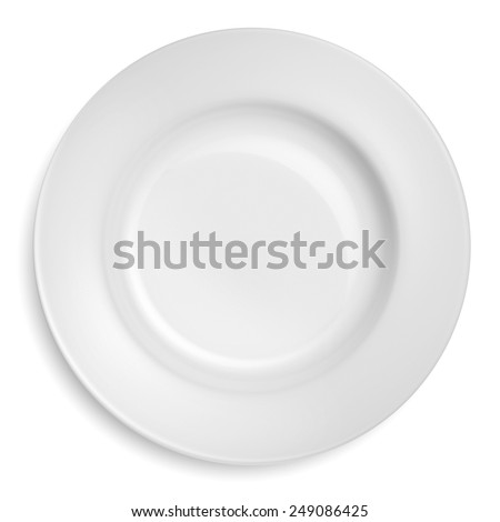 Empty dinner plate isolated on a white background. - stock photo