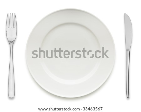empty dinner plate isolated on white - stock photo