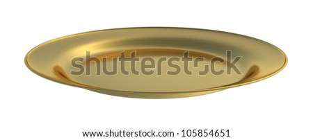 Empty dinner plate of gold front view isolated on white background - stock photo