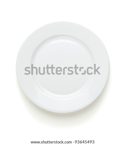 Empty dinner plate on white background with clipping path - stock photo