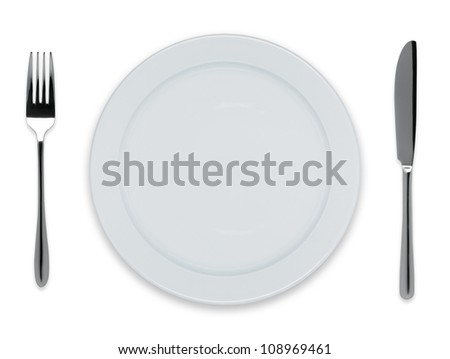 Empty dinner plate with knife and fork isolated on white - stock photo