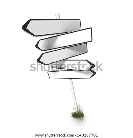 empty direction sign on white background - stock photo
