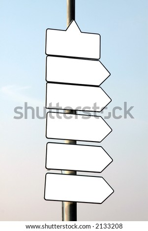 Empty direction signs, ready to your text. - stock photo