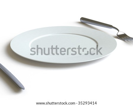 empty dish, fork and knife. In my portfolio there is collection of pictures of tablewares. You only enter IN a SEARCH the Photographer Name: PAVEL IGNATOV and keyword: TABLEWARE - stock photo