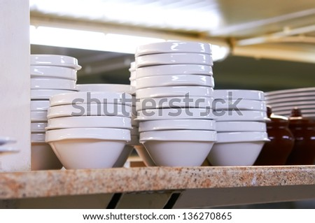 Empty dish in the kitchen - stock photo