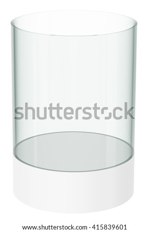 Empty display case, isolated on white. 3D rendering - stock photo