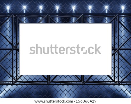 Empty display , chain-link fence and spotlights - stock photo