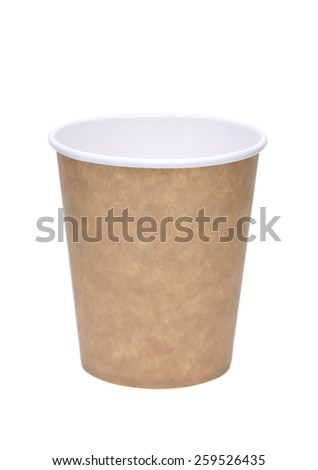 Empty disposable cup , Isolated on white
