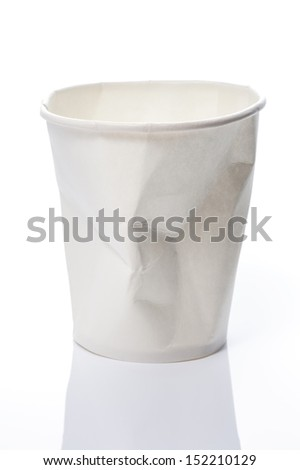 Empty Disposable Cups on white background - stock photo
