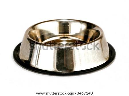 empty dog tray isolated on white background - stock photo
