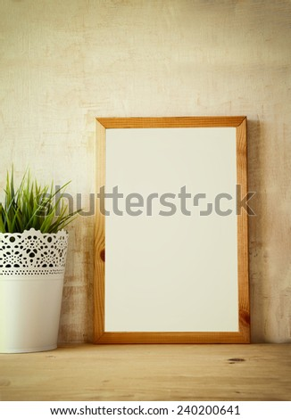 empty drawing board with room for text over wooden table. ready for mock up or adding text - stock photo