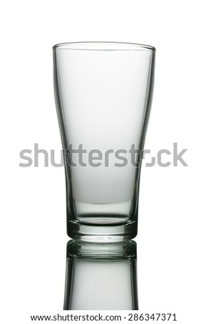Empty drinking glass cup. Transparent glass. - stock photo