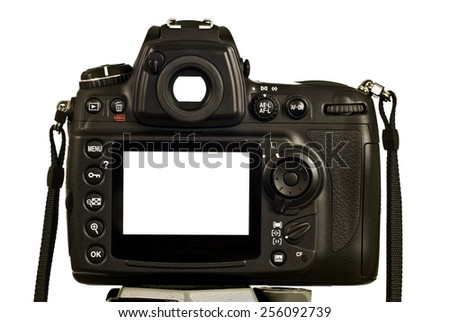 Empty DSLR LCD And Viewfinder On White Background Horizontal Shot - stock photo